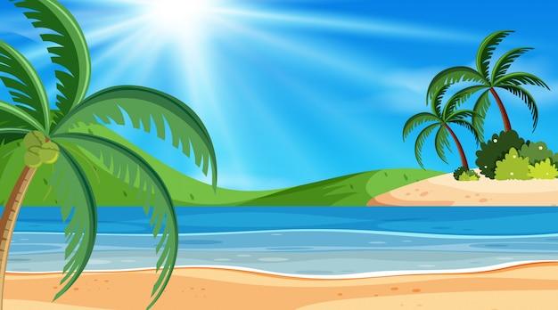 Пейзажный фон с океаном в день Premium векторы