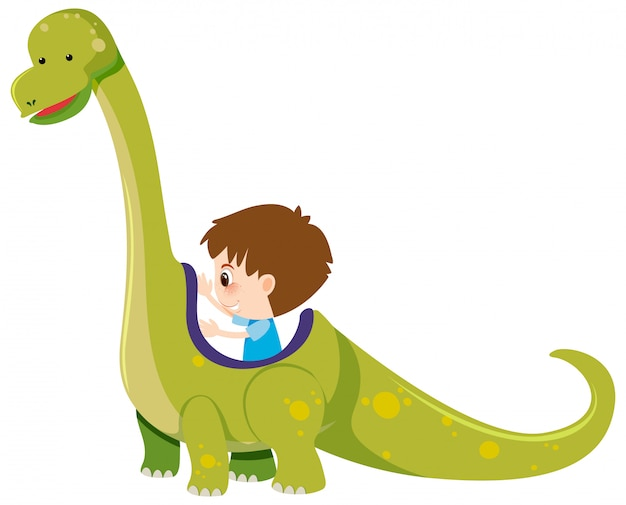 少年と白の恐竜の単一の文字 Premiumベクター