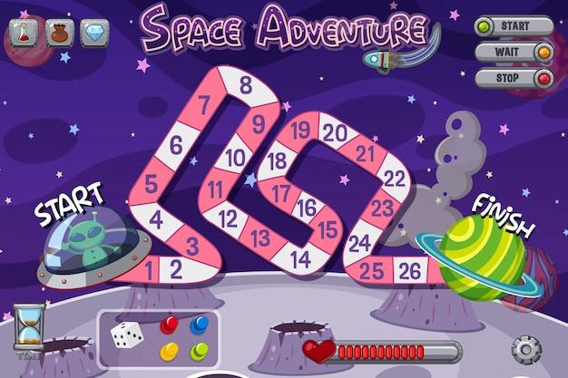 宇宙船でエイリアンとゲームのテンプレート Premiumベクター