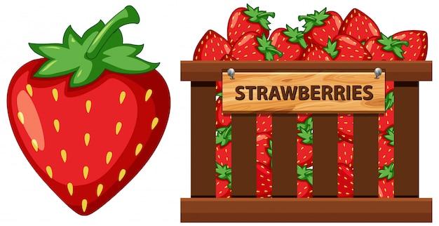 白い背景の上のイチゴがいっぱい入ったかご Premiumベクター