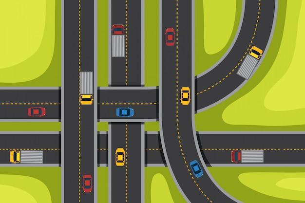 道路と車で空中 Premiumベクター