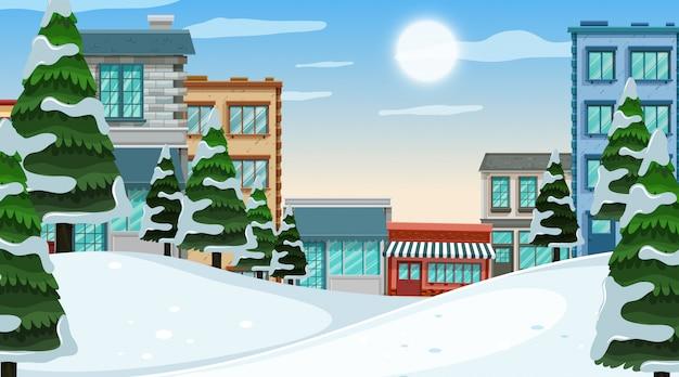 冬の町の屋外シーン Premiumベクター