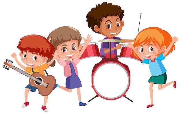 Четверо детей играют музыку в группе Premium векторы