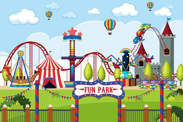 昼間の乗り物が多い遊園地 Premiumベクター