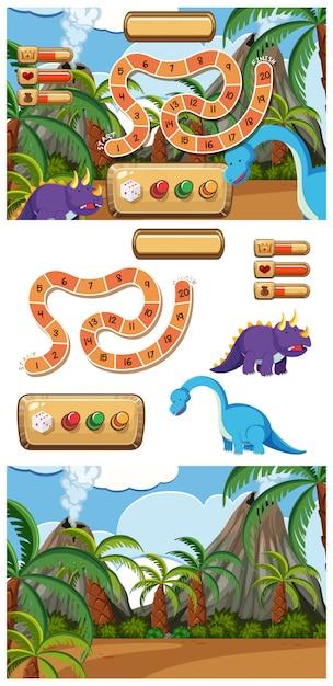 恐竜と火山のゲームのセット Premiumベクター