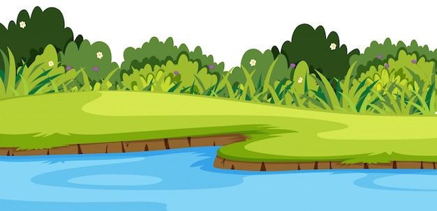 川と緑の草の風景の背景 Premiumベクター