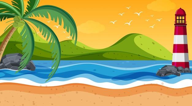 海岸の自然シーン灯台 Premiumベクター