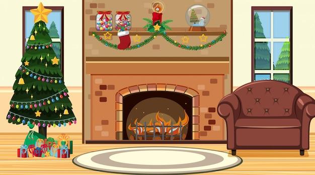 暖炉のそばでクリスマスツリーのある部屋 Premiumベクター