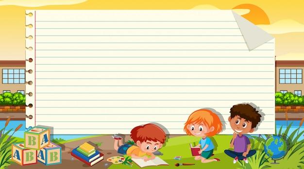 Шаблон границы с тремя детьми, чтение книги на фоне парка Premium векторы