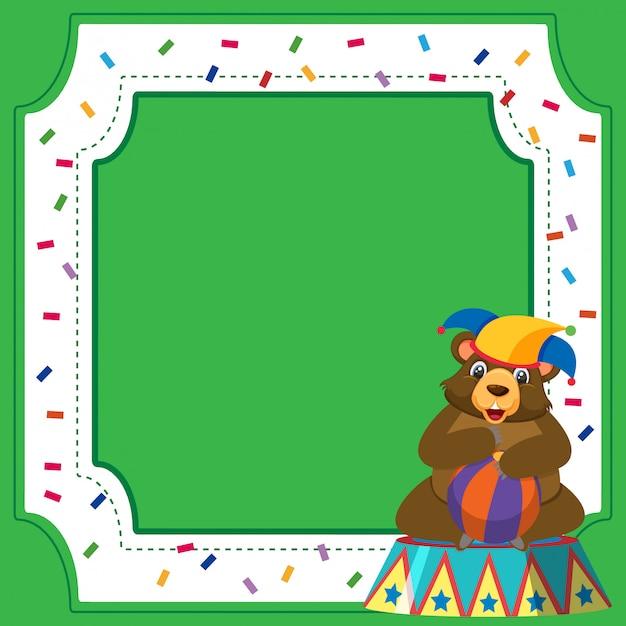 Шаблон рамы с цирковым медведем и мячом Premium векторы