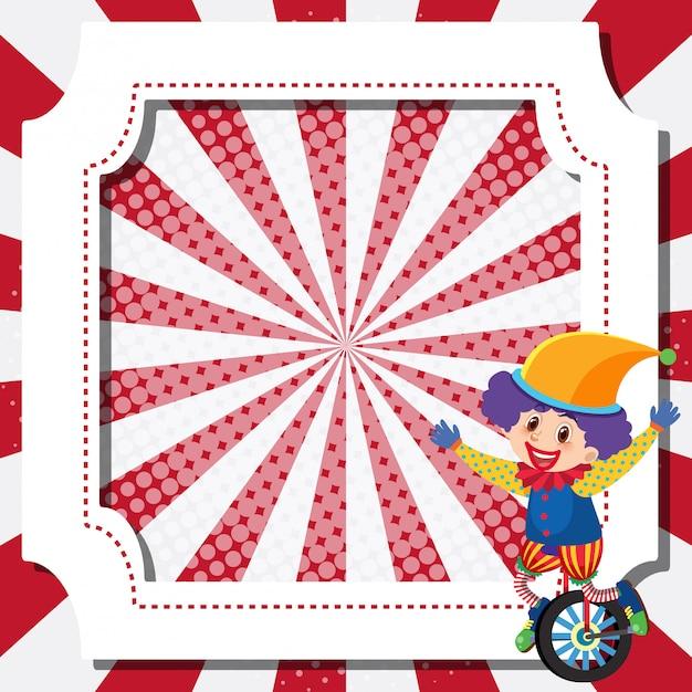 Шаблон рамы с цирковым клоуном Premium векторы