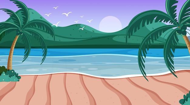 海と小さな丘のある自然の風景 Premiumベクター