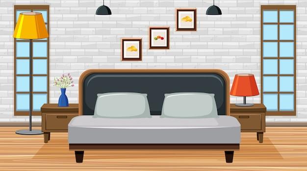 Комната с большой кроватью в комнате Premium векторы