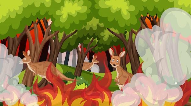 Сцена с большой лесной пожар с животных в ловушке в лесу Premium векторы