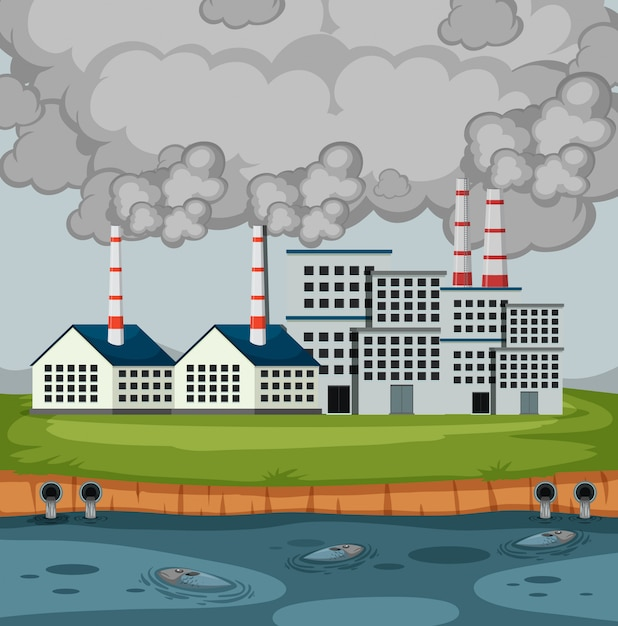 Сцена с заводскими постройками и много дыма Premium векторы
