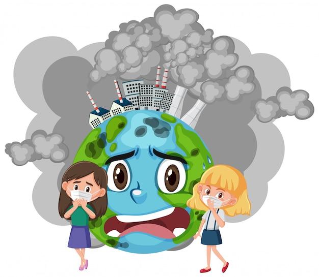 Дизайн плаката для предотвращения загрязнения девушками в маске Premium векторы