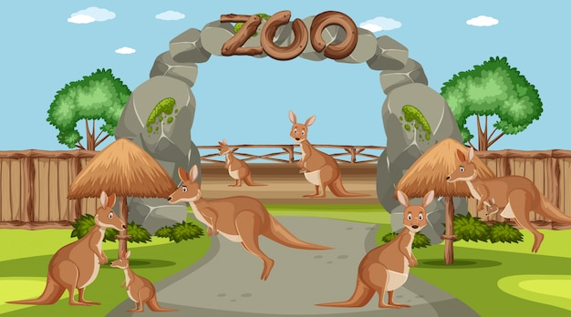 昼間の動物園での野生動物とのシーン Premiumベクター