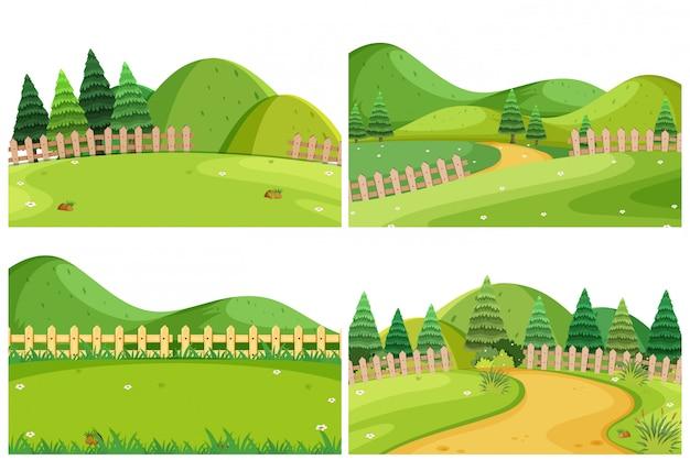 丘を含む屋外シーンのセット Premiumベクター