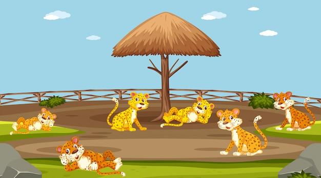 Сцена с дикими животными в зоопарке в дневное время Premium векторы
