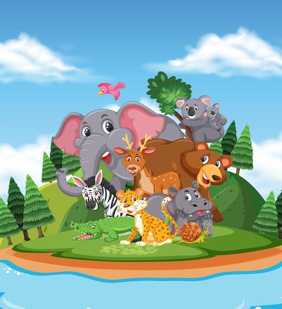 Сцена с дикими животными, стоящими у озера Premium векторы