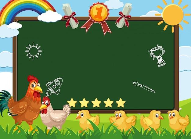 農場を歩いている鶏のバナーテンプレート Premiumベクター
