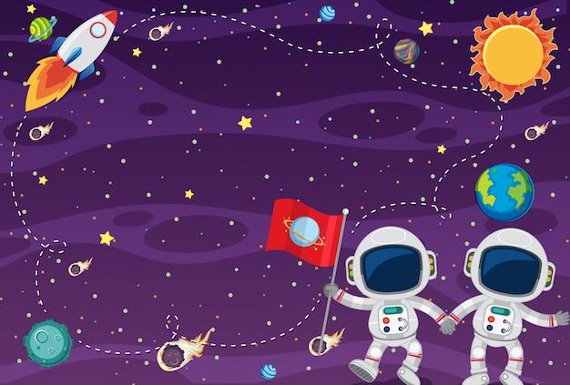 Рамка шаблона дизайна с космонавтами в спце Premium векторы