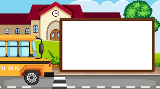 Шаблон границы со школьным зданием Premium векторы