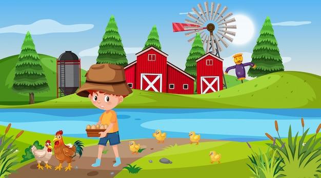 少年と鶏の農場のシーン Premiumベクター