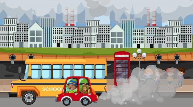 Сцена с машинами и фабричными зданиями, дающими много дыма Premium векторы