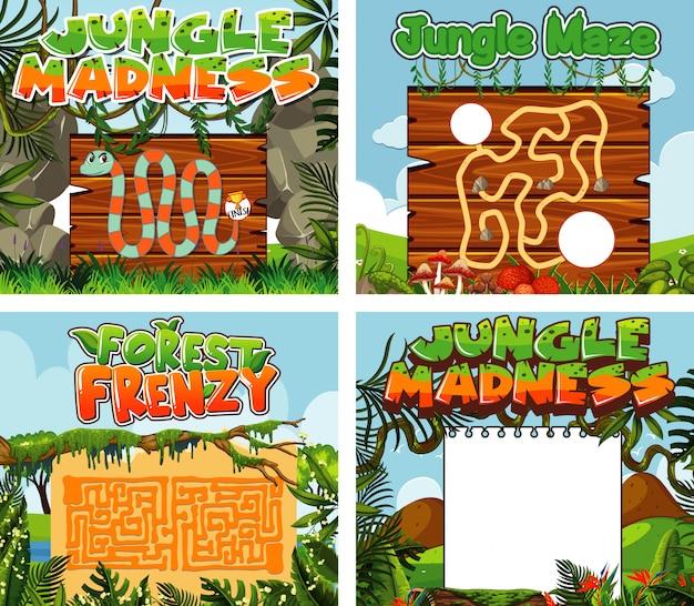 Шаблоны игр с зеленой травой Premium векторы