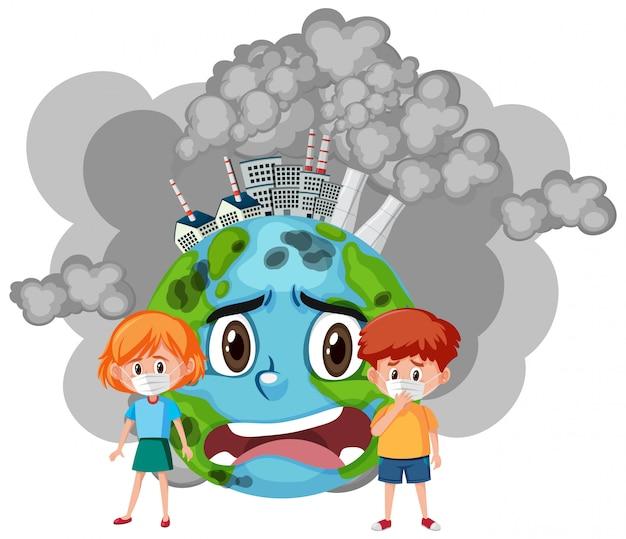 Иллюстрация остановки загрязнения с детьми и грустным миром Premium векторы