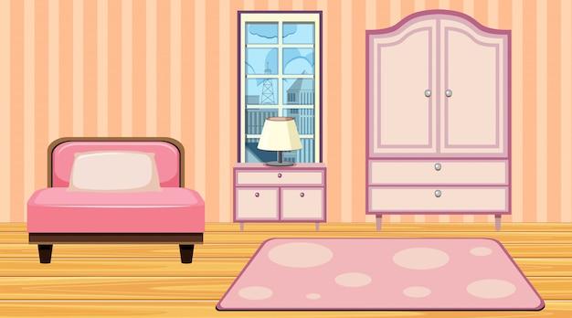 ピンクの家具とカーペットのある部屋 Premiumベクター