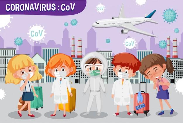 多くの人々が病気になっている大都市でコロナウイルスが発生 Premiumベクター