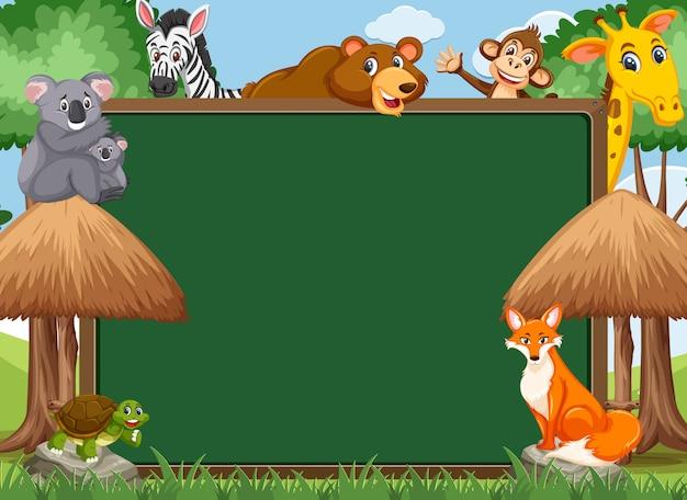 動物園の野生動物と黒板テンプレート Premiumベクター