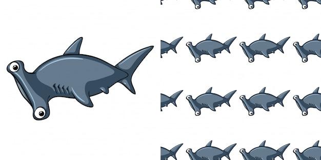 Бесшовный фон с головой акулы молотка Premium векторы