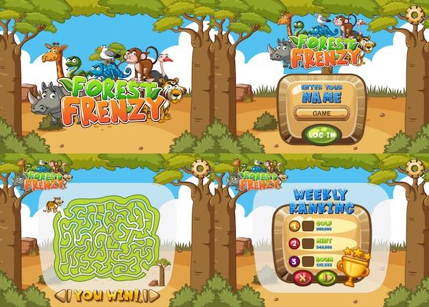Шаблон игры с четырьмя разными лесами Premium векторы