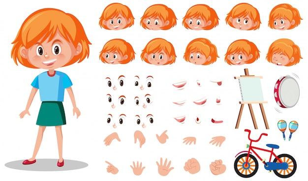 Набор детский характер с разными выражениями на белом Premium векторы