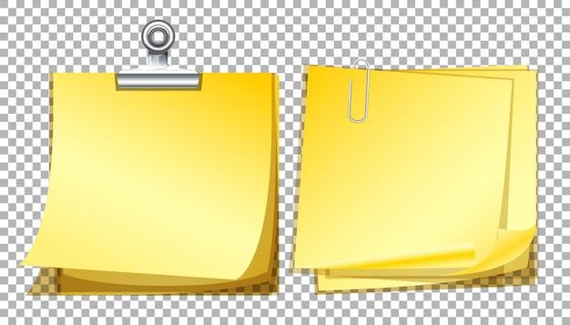 Желтые бланки на прозрачном фоне Premium векторы