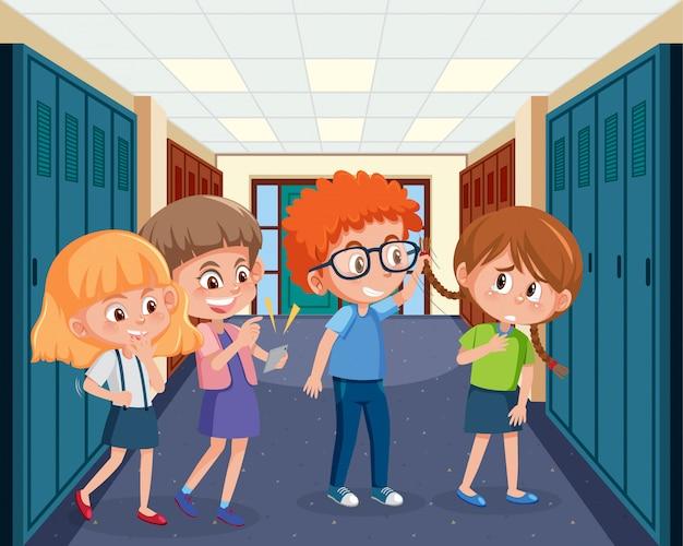 子供が学校で友達をいじめているシーン Premiumベクター