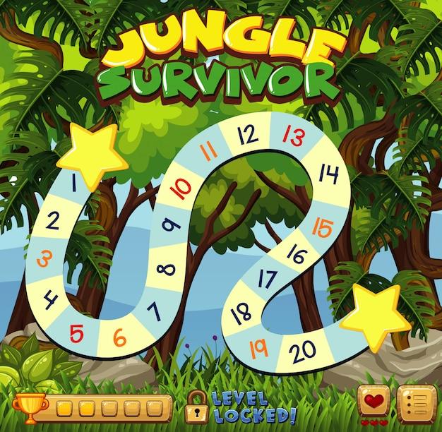 Настольная игра шаблон с зеленым лесом Premium векторы