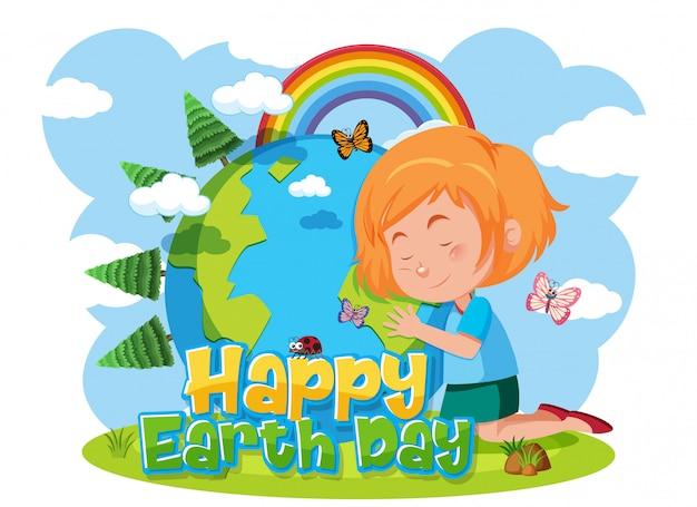Счастливый день земли со счастливой девочкой, обнимающей землю Premium векторы