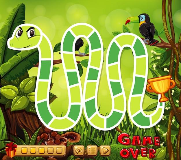 Настольный шаблон со змеей в джунглях Premium векторы