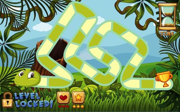 Настольная игра шаблон с зеленым фоном леса Premium векторы