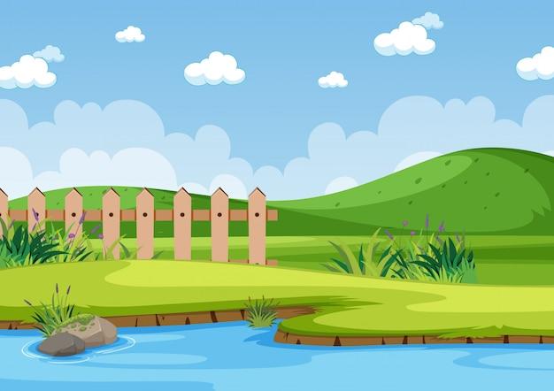 公園の川の背景シーン Premiumベクター