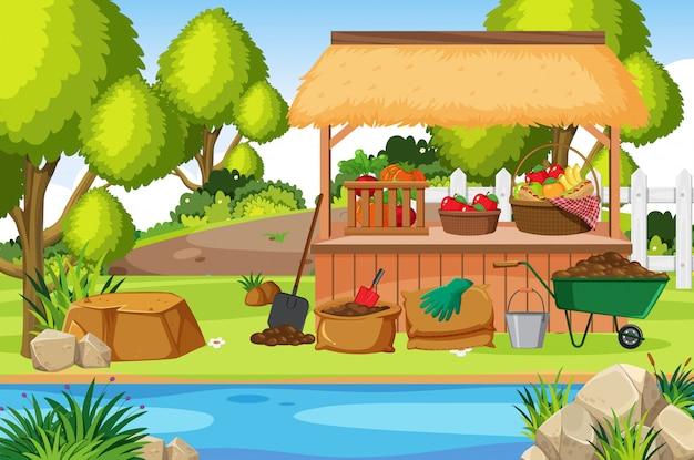 庭で野菜と果物のシーン Premiumベクター