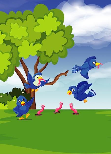 Птица найти червей у дерева Premium векторы