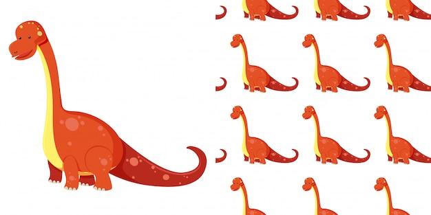 シームレスなかわいいブラキオサウルス恐竜と白い背景で隔離の影 Premiumベクター