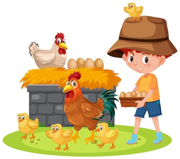 Сцена с мальчиком, кормящим цыплят на ферме Premium векторы