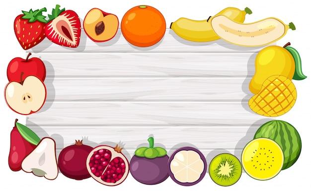 トロピカルフルーツとボーダーテンプレート Premiumベクター