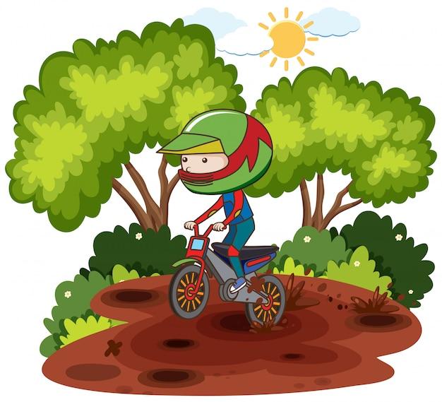 Ребенок, катающийся на мотоциклах через форрест Premium векторы
